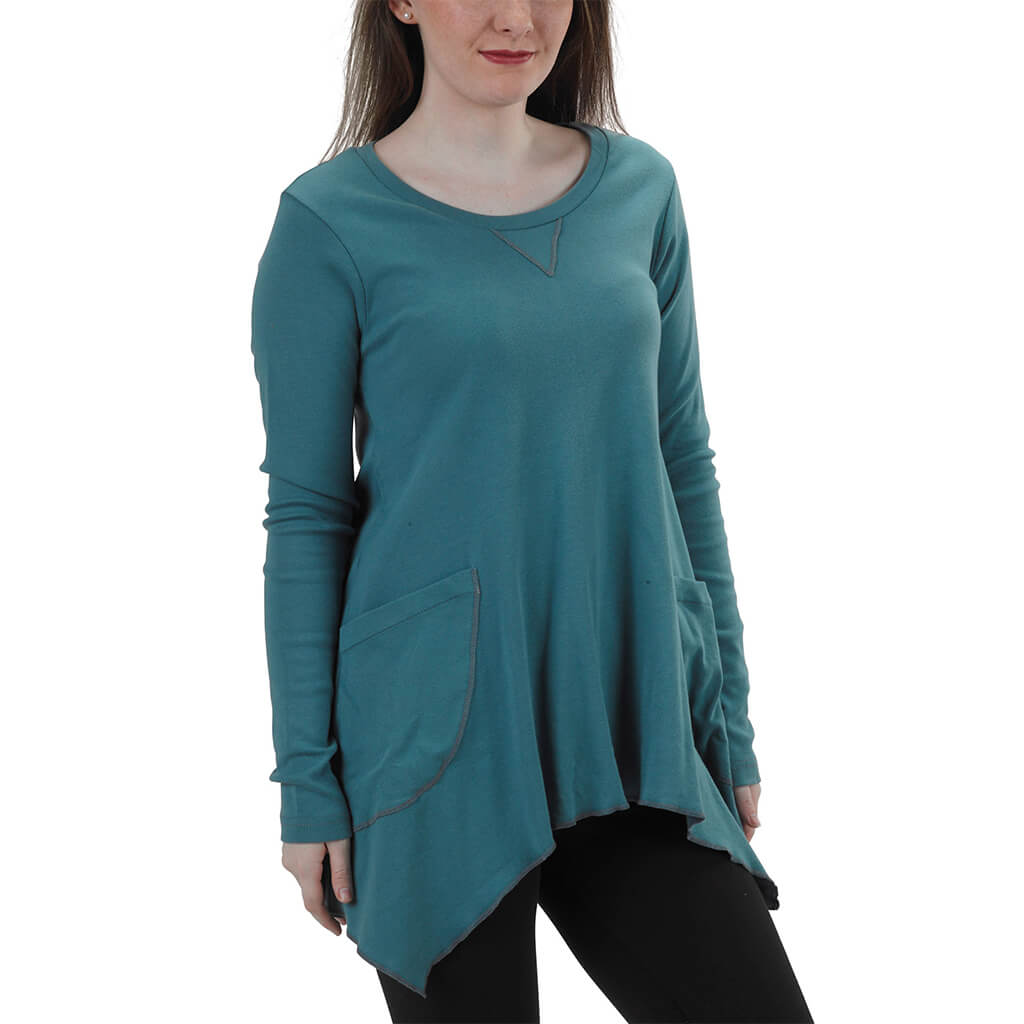 Women's Organic Cotton Long Sleeve Jenna Hippie Top - Hydro - USA Made