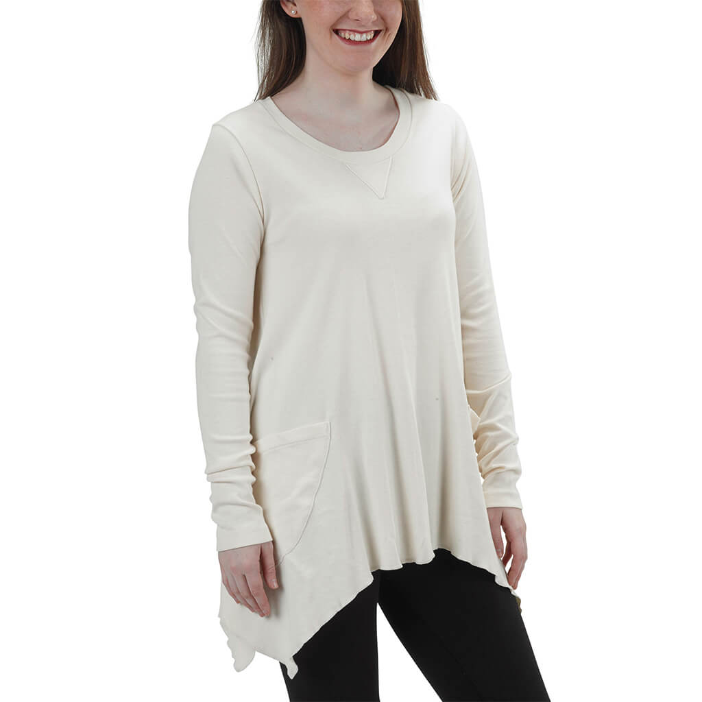 Women's Organic Cotton Long Sleeve Jenna Hippie Top - Natural - USA Made - Asheville Apparel