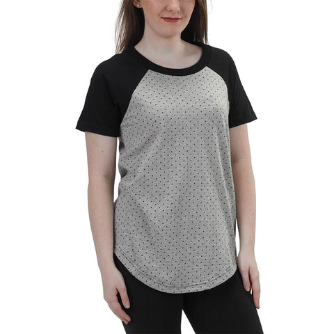 Women's 50/50 Short Sleeve Relaxed Baseball Raglan Tee - Heather Grey - USA Made