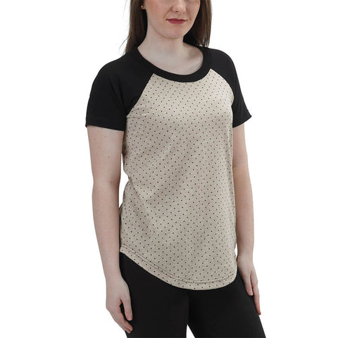 Women's 50/50 Short Sleeve Relaxed Baseball Raglan Tee - Linen - USA Made