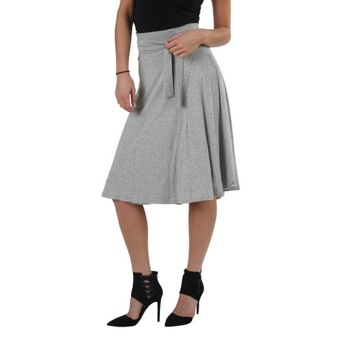 Women's Organic Cotton Bamboo Wrap Skirt - Heather Grey - USA Made