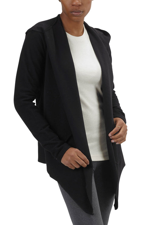 Women's Organic Cotton Claudine Drape Hoodie - Black - USA Made