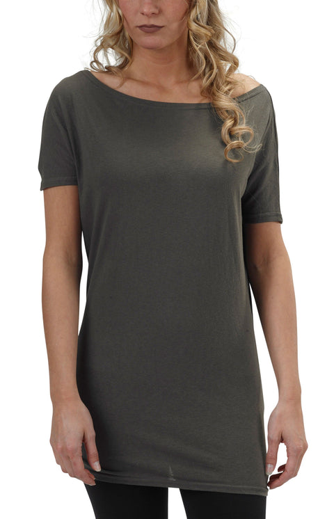 Women's Organic Cotton Short Sleeve Dolman Tee - Graphite - USA Made
