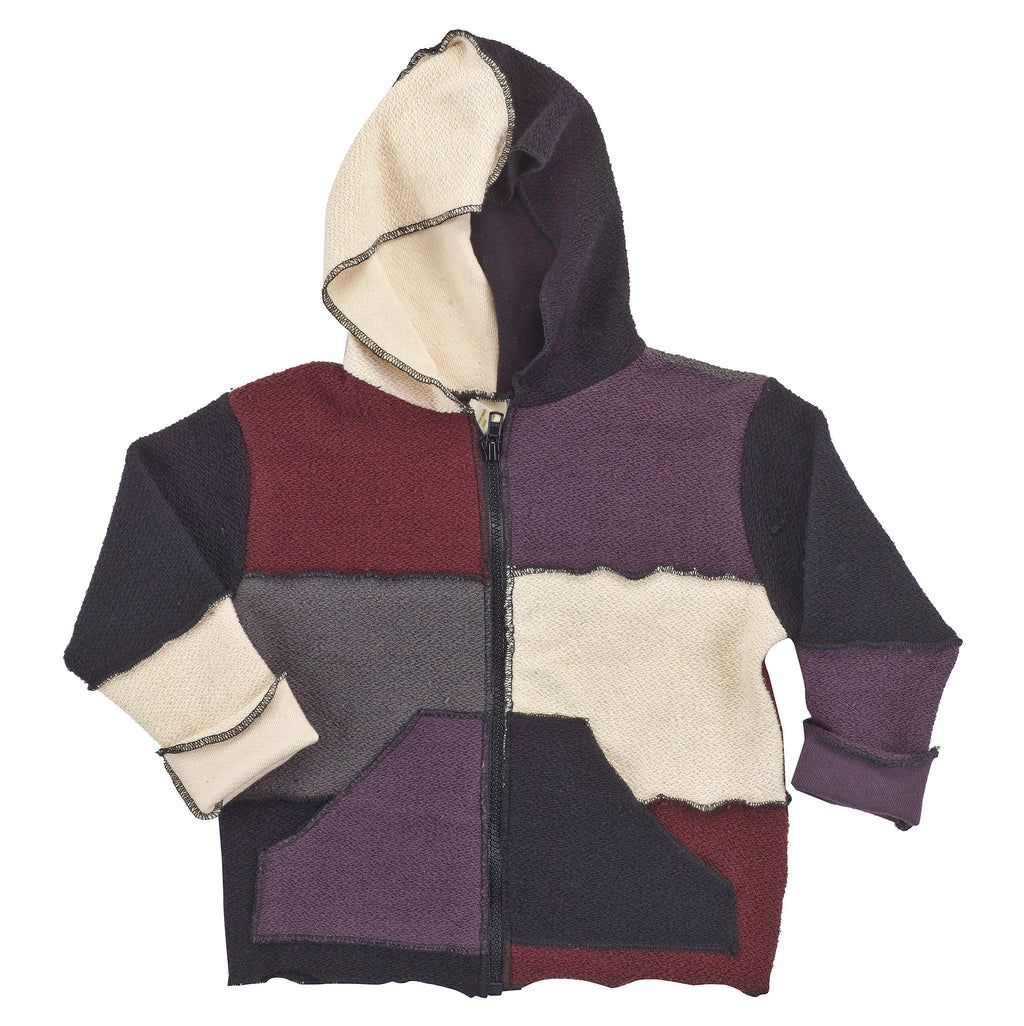 Kids Organic Cotton Patchwork Zip Hoodie - USA Made - Asheville Apparel