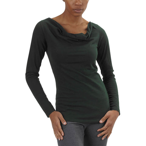 Women's Organic Cotton Long Sleeve Cowl Neck Tee - Scarab Green - USA Made
