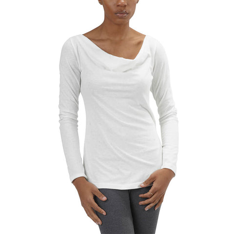 Women's Organic Cotton Long Sleeve Cowl Neck Tee - White - USA Made