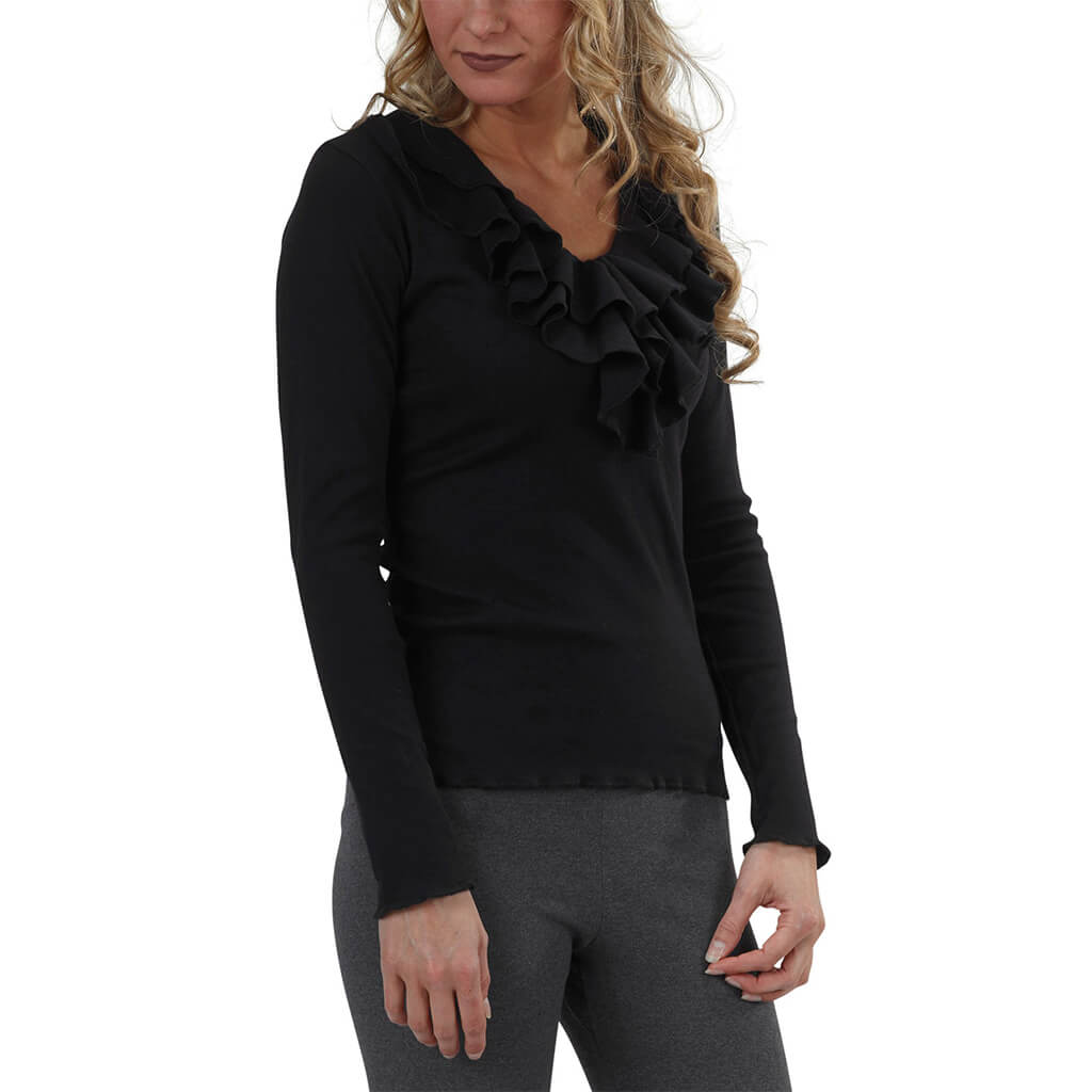 Women's Organic Cotton Long Sleeve Flounce Top - Black - USA Made - Asheville Apparel