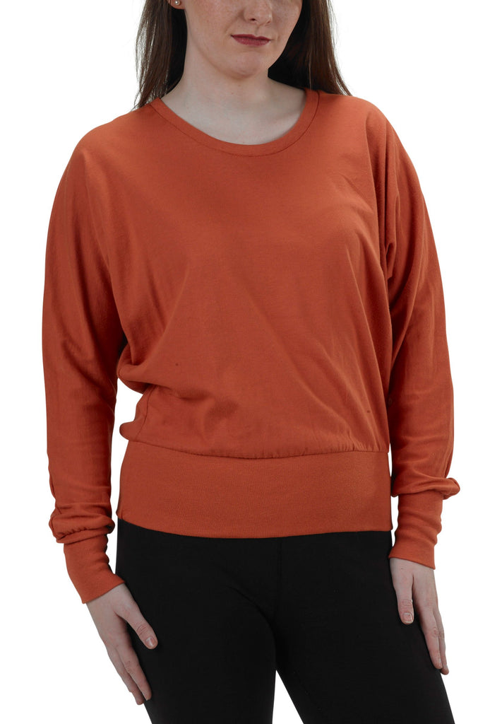 Women's Organic Cotton Long Sleeve Willow Tee -  Hot Sauce - USA Made