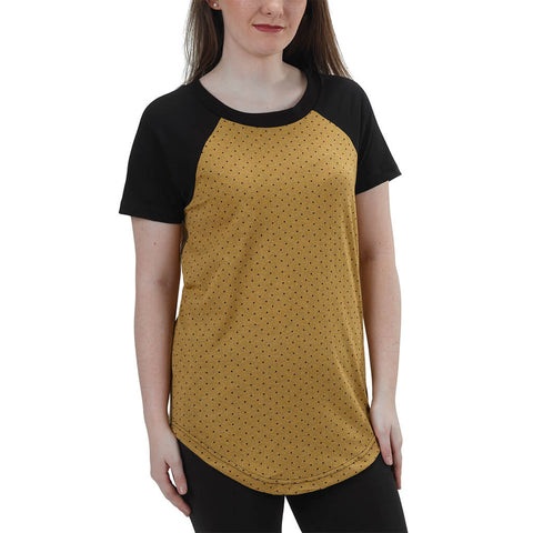 50/50 | Short Sleeve Relaxed Baseball Raglan Tee | Honey Mini Dot | USA Made - Asheville Apparel