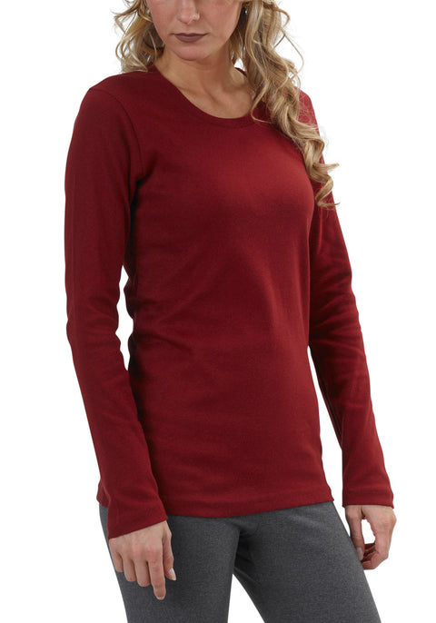 Women's Organic Cotton Long Sleeve Perfect Crewneck Tee - Syrah - USA Made - Asheville Apparel