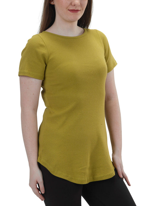 Women's Organic Cotton Short Sleeve Maddi Tee - Arras Green - USA Made