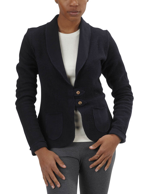 Women's Organic Cotton Terry Tab Jacket - Navy - USA Made