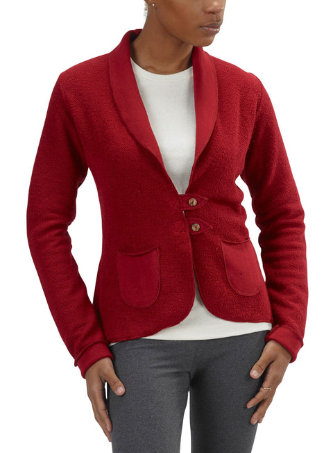Women's Organic Cotton Terry Tab Jacket - Cranberry - USA Made