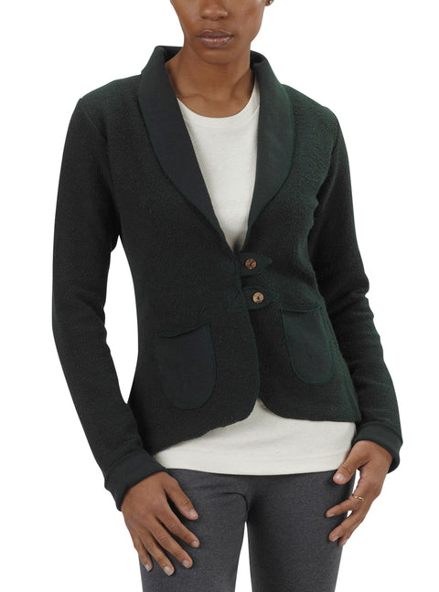Women's Organic Cotton Terry Tab Jacket - Scarab Green - USA Made