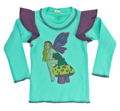 Organic Kid's Fairy Long Sleeve Ruffle Tee - Asheville Apparel