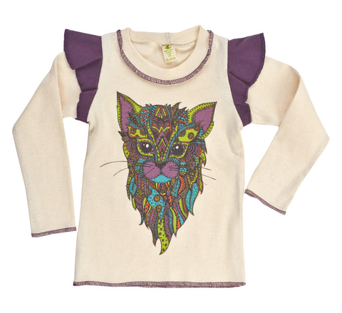 Organic Kid's Cat Long Sleeve Ruffle Tee - Asheville Apparel