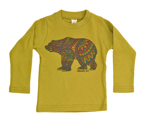 Organic Kid's Doodle Bear Long Sleeve Tee - Asheville Apparel