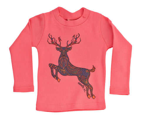 Organic Kid's Doodle Deer Long Sleeve Tee - Asheville Apparel