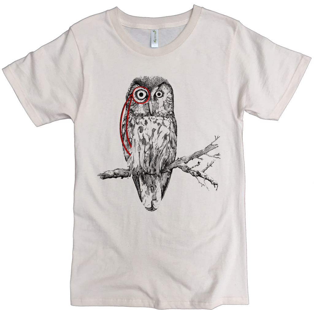 Men's Organic Cotton Classic Crewneck Tee - Owl W/ Monocle Graphic - USA Made - Asheville Apparel
