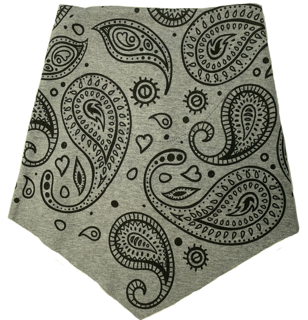 Adult | Organic Cotton | Filter Infinity Bandana | Paisley | Heather Grey | USA Made