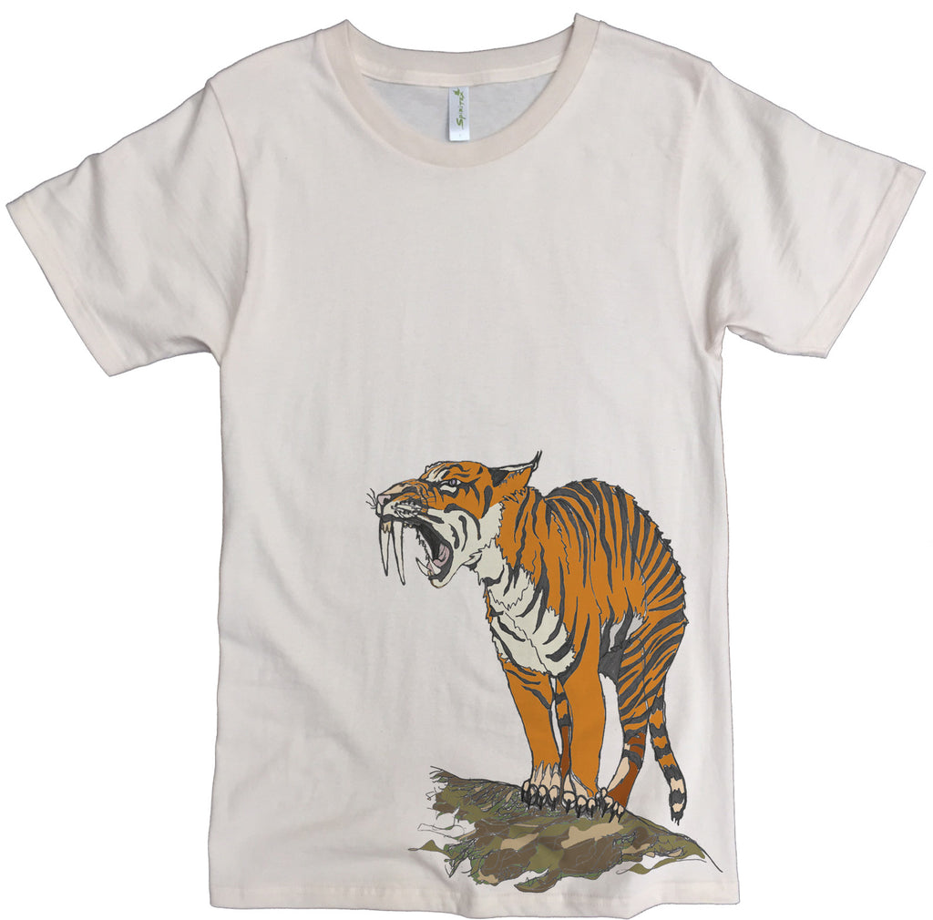 Men's Organic Cotton Classic Crewneck Tee - Sabertooth Tiger Graphic - USA Made - Asheville Apparel