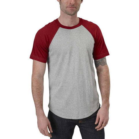 Short Sleeve Baseball Raglan Tee  |  Organic Cotton and Bamboo | Heather Grey & Carmine