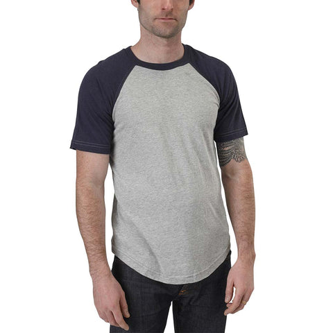 Short Sleeve Baseball Raglan Tee | Organic Cotton/Bamboo | Heather Grey/Marine