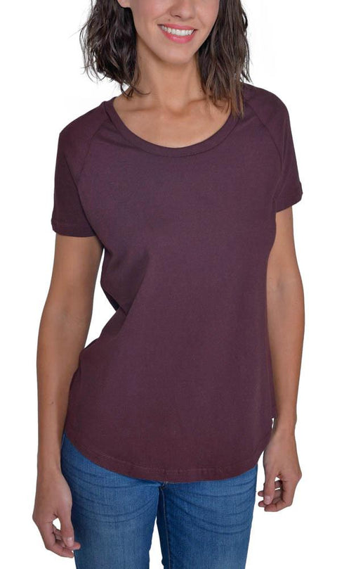 Women's Organic Cotton Short Sleeve Relaxed Tee - Oxblood - USA Made