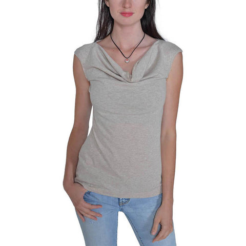 Women's 50/50 Sleeveless Cowl Neck Tee - Linen - USA Made - Asheville Apparel
