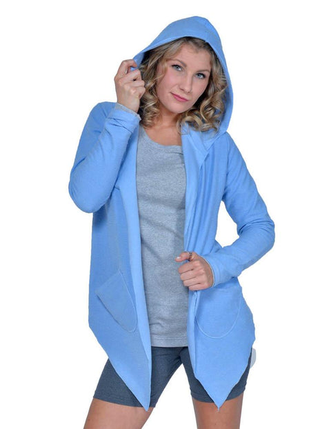 Women's Organic Cotton Claudine Drape Hoodie - Carolina Blue - USA Made