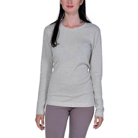 Women's 50/50 Long Sleeve Perfect Crew Neck Tee - Linen - USA Made - Asheville Apparel