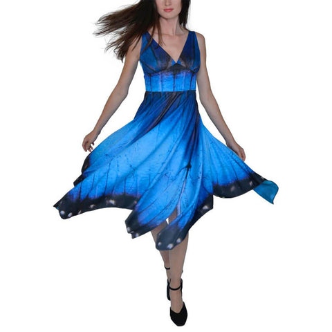 Blue Morpho Butterfly Dress - Asheville Apparel