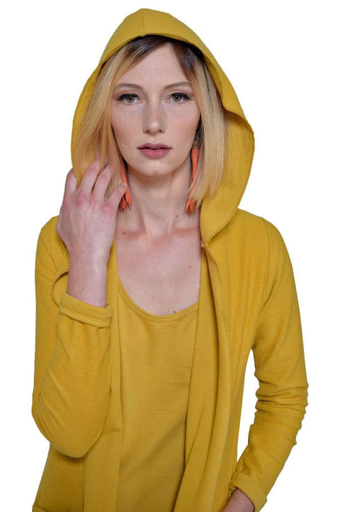 Women's Organic Cotton Claudine Drape Hoodie - Honey - USA Made