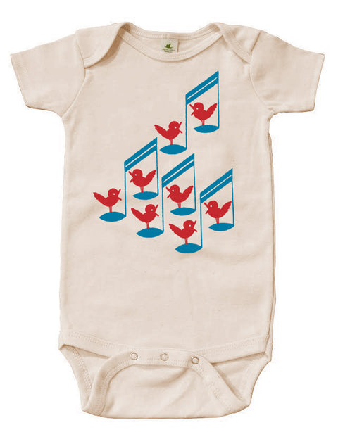 Songbird Graphic Snappie | Organic Cotton | Short Sleeve Baby Bodysuit | Natural | USA Made