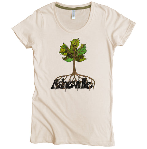Asheville Spring Rooted Graphic Tee | Organic Cotton | Short Sleeve Women's Favorite Crewneck Tee | Natural | USA Made