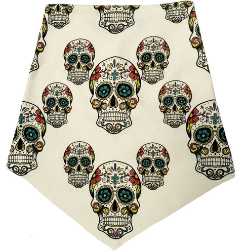 Adult | Organic Cotton | Filter Infinity Bandana | Sugar Skulls | Natural | USA Made