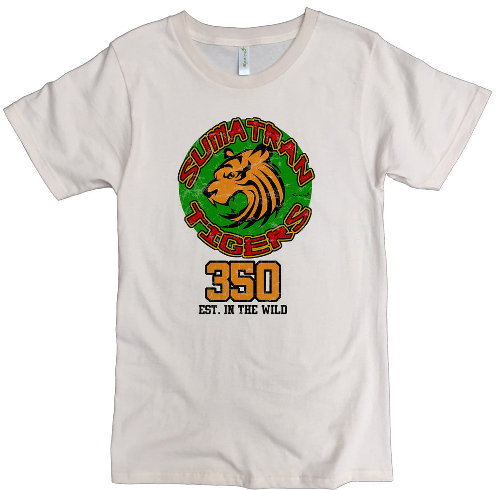 Men's Organic Cotton Classic Crewneck Tee - Endangered Sumatran Tiger Graphic - USA Made - Asheville Apparel