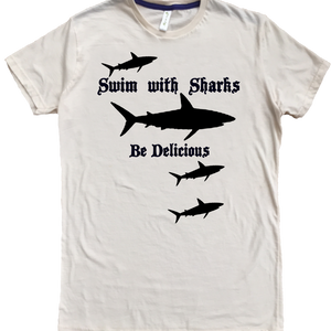 Men's Organic Cotton Classic Crewneck Tee - Swim With Sharks Graphic - USA Made