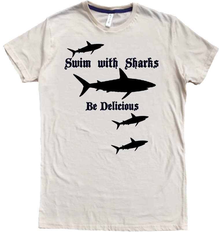Men's Organic Cotton Classic Crewneck Tee - Swim With Sharks Graphic - USA Made - Asheville Apparel