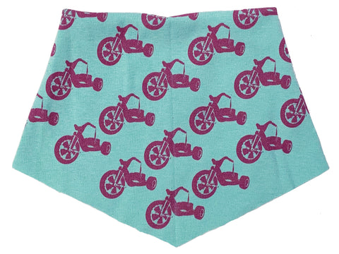 Kid's | Organic Cotton | Filter Infinity Bandana | Pink Big Wheel | Seafoam | USA Made