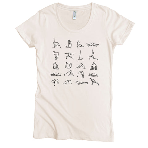 Yoga Poses Graphic Tee | Organic Cotton | Short Sleeve Women's Favorite Crewneck Tee | Natural | USA Made