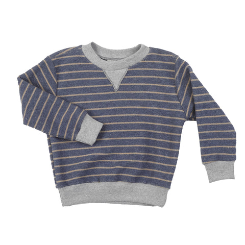 50/50 | V Inset Pullover | Denim Stripe | USA Made