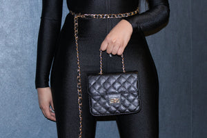 Black Quilted Mini Waist Bag
