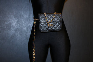 Silver Quilted Mini Waist Bag