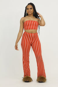 Stripe Pant Set - Red