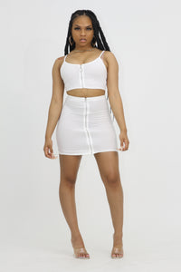 Ribbed Zip Up Set -White