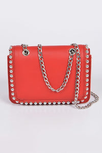 Studded Shoulder Bag - Red