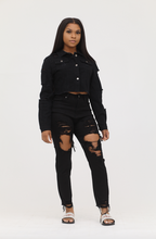 Load image into Gallery viewer, Black High Waist Thigh Cut Out