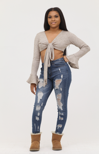 Distressed High Waist Skinnies - Blue