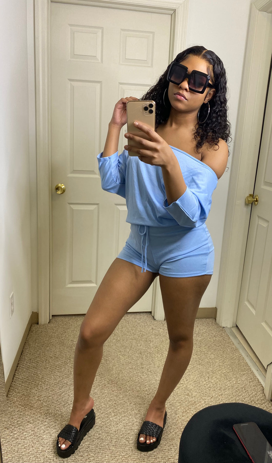 Day Drinking Romper - Blue